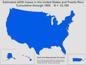 Estimated AIDS cases through 1985. (Note the clusters developing around urban areas, especially in New York and California.)