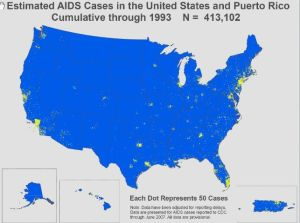 Estimated AIDS cases in 1993. (Notice that the dots are really spreading out now, especially in the eastern US.)