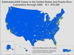 Estimated AIDS cases in 2005. (Note the many dots peppering rural areas, especially in the southeast.)